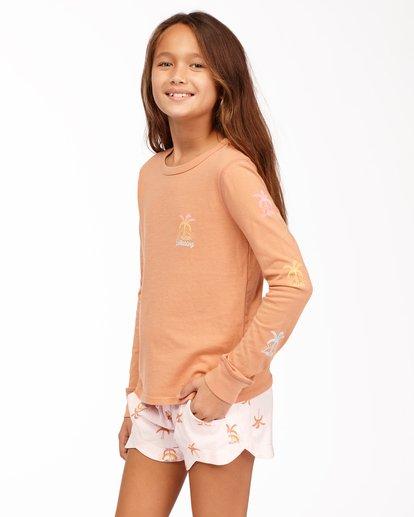 1 Girls' Sunny Palm Long Sleeve T-Shirt Brown ABGZT00175 Billabong