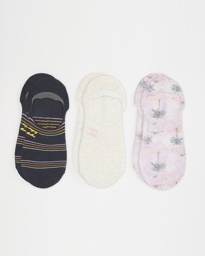 0 3 Pack Slow Roller No Show Socks Pink ABJAA00124 Billabong