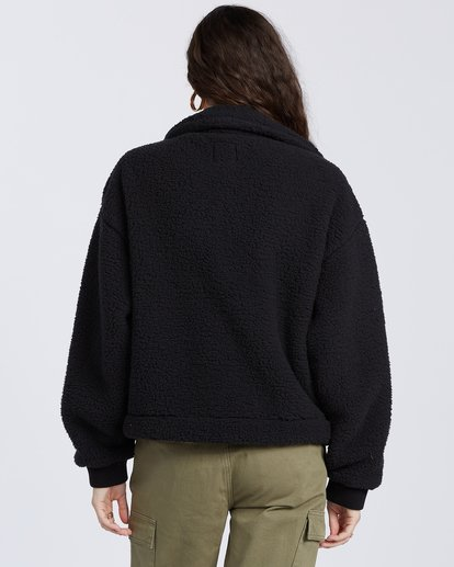 2 Grafton Button Through Fleece Jacket Black ABJFT00106 Billabong