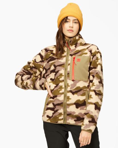 1 A/Div Switchback Tie-Dyed Fleece Zip-Up Jacket Green ABJFT00151 Billabong