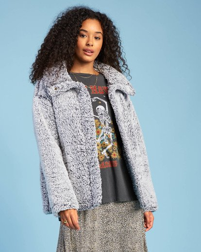 2 Cozy Days Sherpa Fleece Jacket Grey ABJFT00162 Billabong