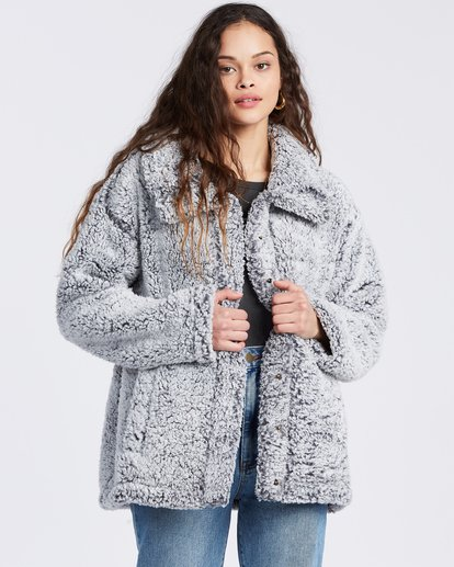 6 Cozy Days Sherpa Fleece Jacket Grey ABJFT00162 Billabong