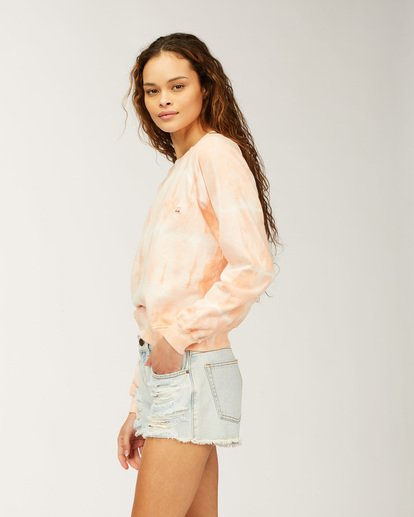 1 Sun Shrunk Crew Neck Sweatshirt Pink ABJFT00198 Billabong