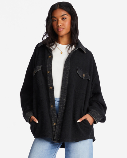 0 Any Time Button-Up Shacket Black ABJFT00211 Billabong