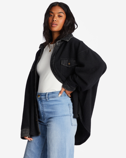1 Any Time Button-Up Shacket Black ABJFT00211 Billabong