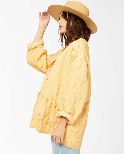 3 U R Golden Quilted Button-Up Jacket White ABJJK00135 Billabong