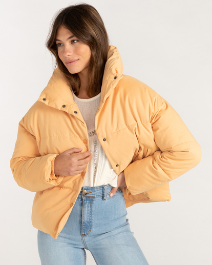 3 Good Friends Button-Up Puffer Jacket Orange ABJJK00145 Billabong