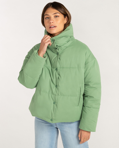 3 Good Friends Button-Up Puffer Jacket Green ABJJK00145 Billabong
