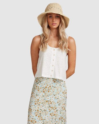 3 Button Up Tank White ABJKT00248 Billabong