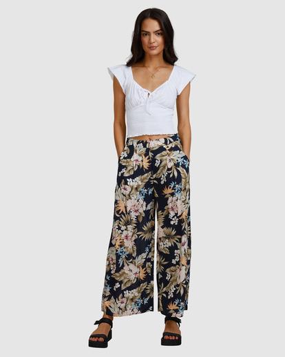 4 Tropicool Wide-Leg Floral Pants Black ABJNP00254 Billabong