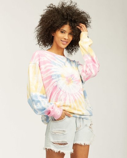 1 Sunny Rays Tie-Dye Crew Neck Sweatshirt Grey ABJSF00128 Billabong
