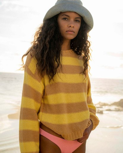 0 Seeing Double Crop Crewneck Sweater Yellow ABJSW00152 Billabong