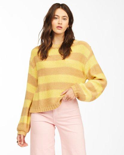 1 Seeing Double Crop Crewneck Sweater Yellow ABJSW00152 Billabong