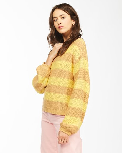 2 Seeing Double Crop Crewneck Sweater Yellow ABJSW00152 Billabong