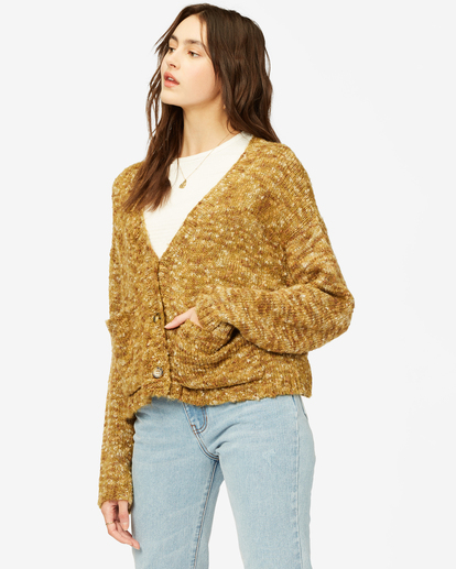 3 Catch Up Cardigan Sweater Green ABJSW00160 Billabong