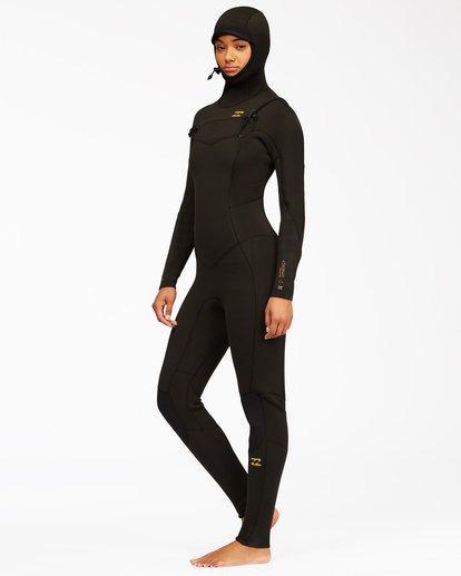 2 5/4 Synergy Hooded Chest Zip Full Wetsuit Black ABJW200100 Billabong