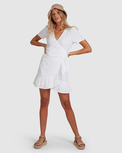 3 Crosshatch Wrap Mini Dress White ABJWD00242 Billabong
