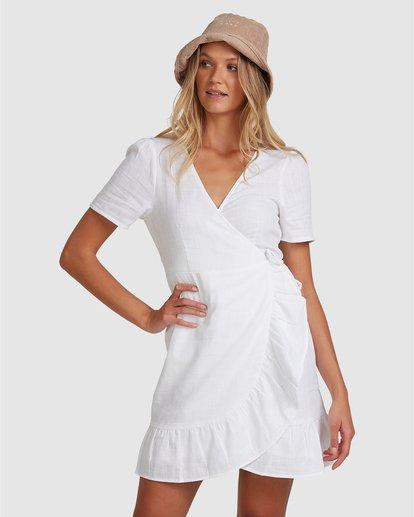 0 Crosshatch Wrap Mini Dress White ABJWD00242 Billabong