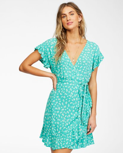 0 Wrap And Roll Woven Dress Green ABJWD00247 Billabong
