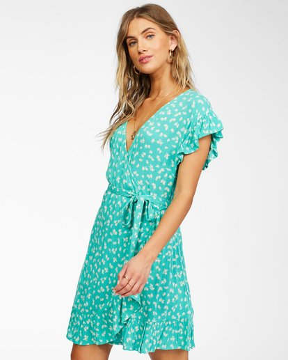 1 Wrap And Roll Woven Dress Green ABJWD00247 Billabong