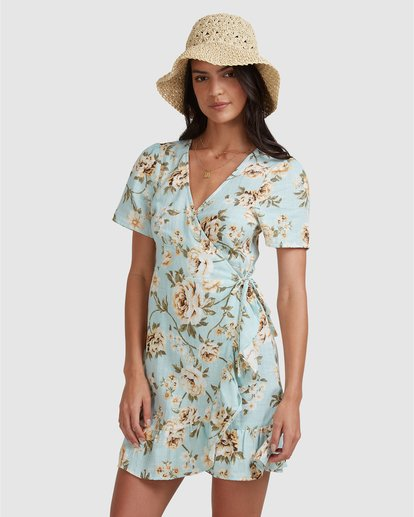 2 Laguna Wrap Dress Blue ABJWD00282 Billabong