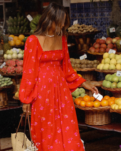 1 Best Coast Smocked Midi Dress Red ABJWD00334 Billabong