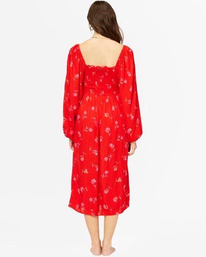 4 Best Coast Smocked Midi Dress Red ABJWD00334 Billabong