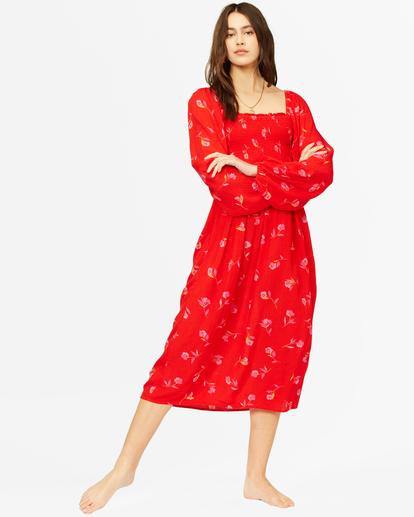 2 Best Coast Smocked Midi Dress Red ABJWD00334 Billabong