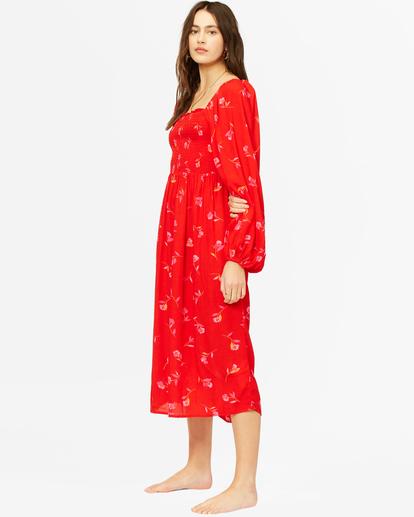 3 Best Coast Smocked Midi Dress Red ABJWD00334 Billabong