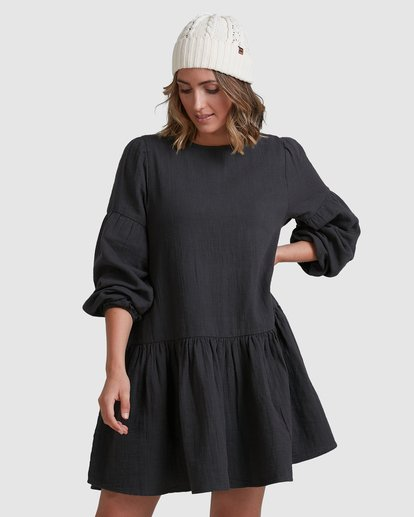 3 Wishes Tiered Dress Black ABJWD00346 Billabong