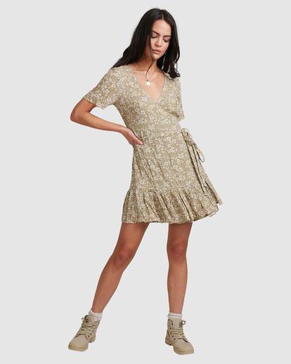 5 Little River Wrap Mini Dress Green ABJWD00380 Billabong