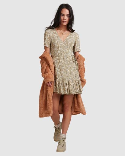 3 Little River Wrap Mini Dress Green ABJWD00380 Billabong