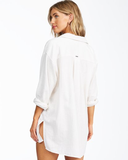 3 In The Tide Button-Down Top White ABJWT00193 Billabong