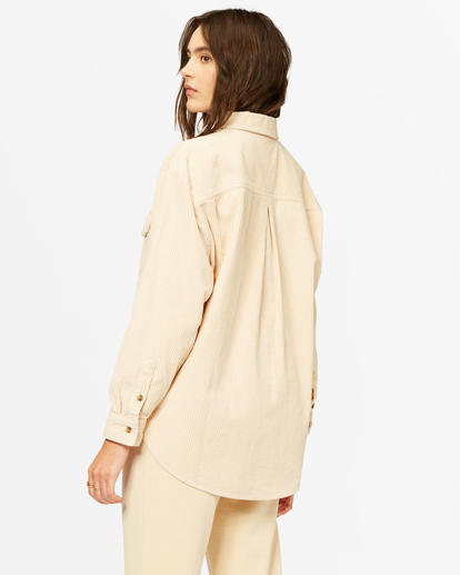 4 So Stoked Cord Long Sleeve Top White ABJWT00232 Billabong