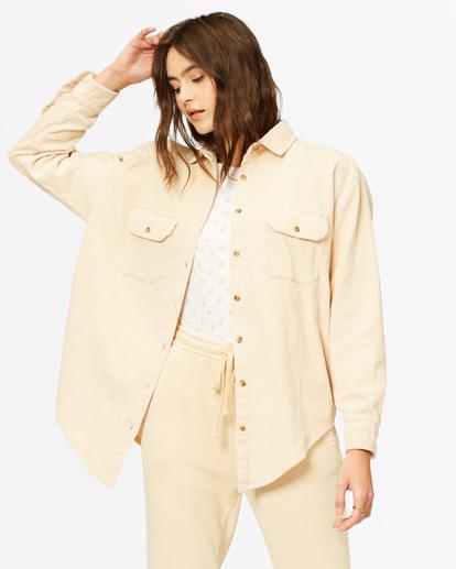 2 So Stoked Cord Long Sleeve Top White ABJWT00232 Billabong