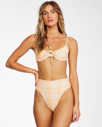 1 Pretty In Plaid Underwire Bikini Top Grey ABJX300279 Billabong