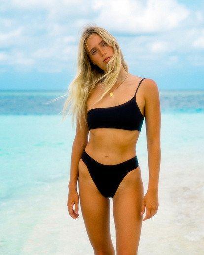 0 Sol Searcher One Shoulder Bikini Top Black ABJX300406 Billabong