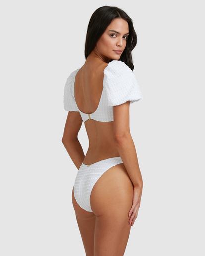 5 Wave Check Puff Sleeve Bikini Top White ABJX300501 Billabong