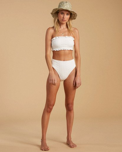 4 Salty Blonde By The Seashore High Maui Bikini Bottom White ABJX400203 Billabong