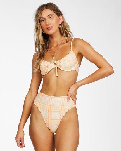 2 Pretty In Plaid High Maui Bikini Bottom Grey ABJX400277 Billabong
