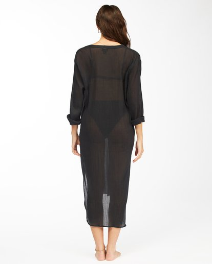 2 Summer Breeze Beach Cover-Up Midi Dress Black ABJX600152 Billabong