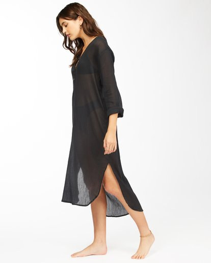 1 Summer Breeze Beach Cover-Up Midi Dress Black ABJX600152 Billabong