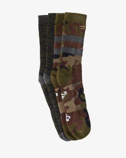1 2-Pack Camo Crew Socks Green ABYAA00173 Billabong