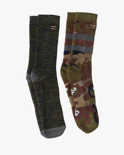 0 2-Pack Camo Crew Socks Green ABYAA00173 Billabong