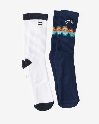 0 2-Pack Tie-Dye Crew Socks Blue ABYAA00174 Billabong