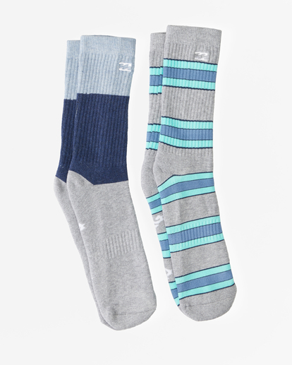 0 2-Pack Stripe Crew Socks Grey ABYAA00175 Billabong
