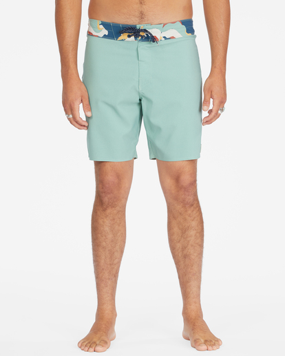 """4 All Day Pigment Pro Boardshorts 17"""" Green ABYBS00110 Billabong"""