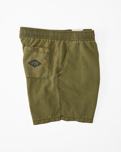 """2 All Day Overdyed Layback Boardshorts 17"""" Green ABYBS00134 Billabong"""