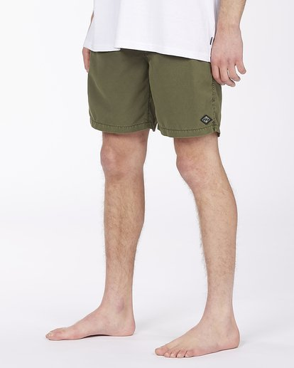 "3 All Day Overdyed Layback Boardshort 17"" Green ABYBS00134 Billabong"