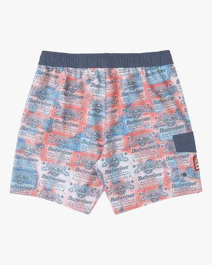 """1 Budweiser Insignia Layback Bottle Opener Boardshorts 17"""" Red ABYBS00194 Billabong"""